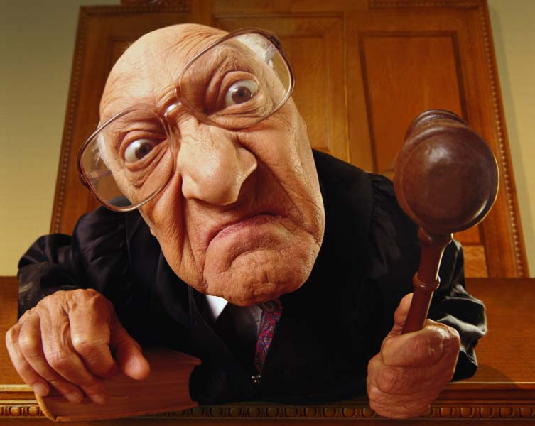 Angry judge in court room