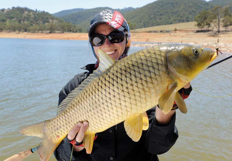 Carp caught on light fishing tackle