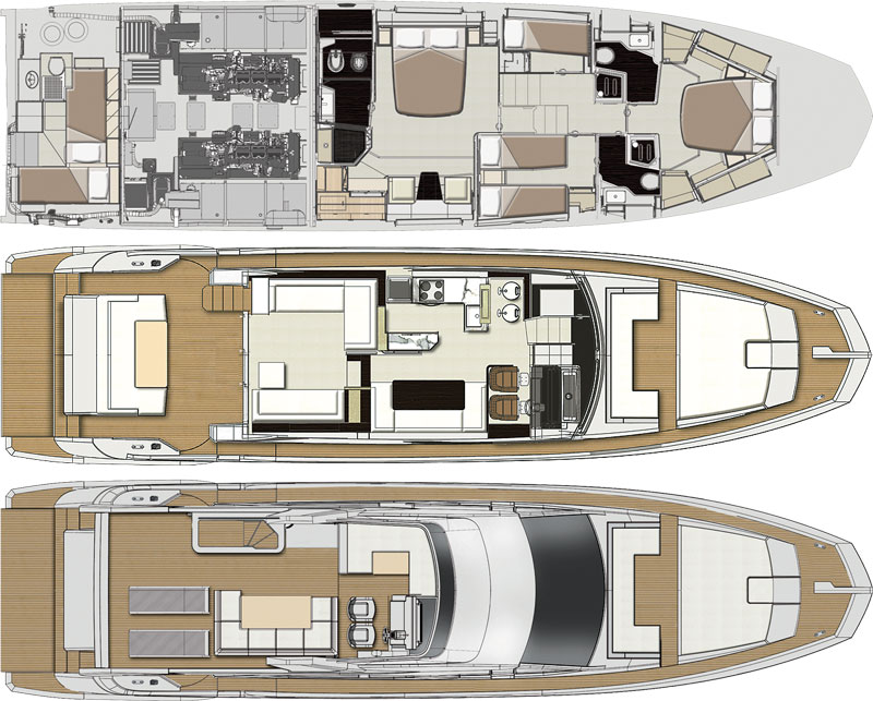 Deck plans of Azimut 66
