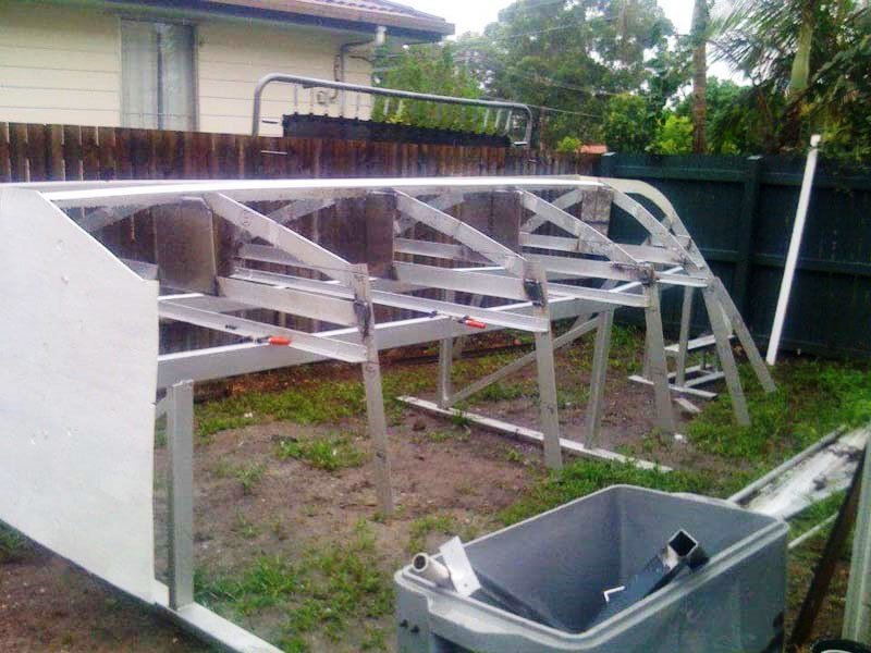 Boden Boats hull being built in back yard