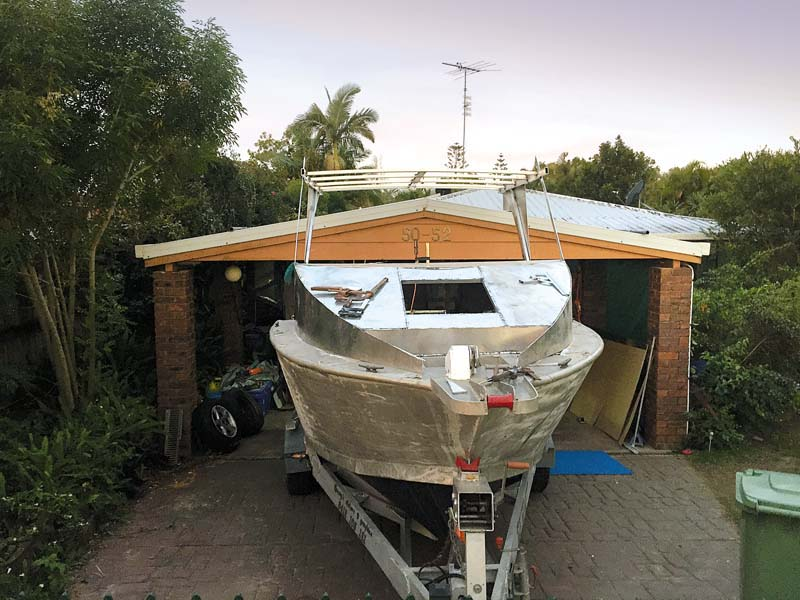 Partially completed hardtop on Boden Boat Plans hull