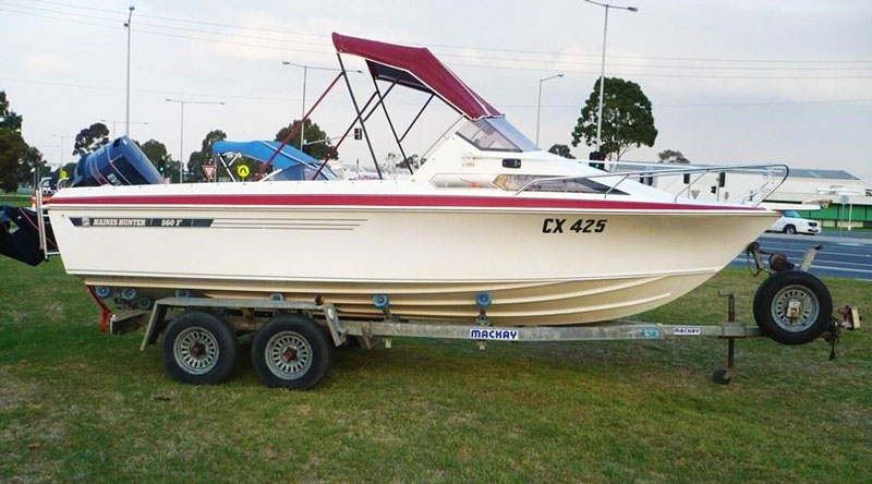 Classic Haines Hunter 560F with 140hp two-stroke Evinrude outboard motor.