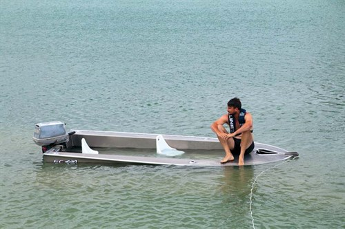 Fish City FC390 tinnie tested for buoyancy.