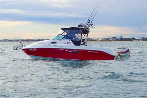 200hp E-TEC G1 outboard motor on fishing boat