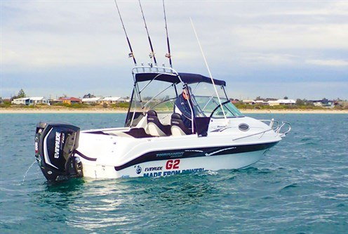 200hp Evinrude E-TEC G2 outboard motor on fishing boat