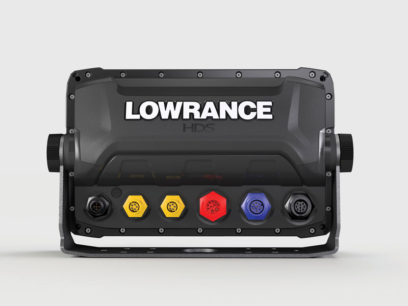 Back panel cable connections on Lowrance HDS-9 Gen 3 unit