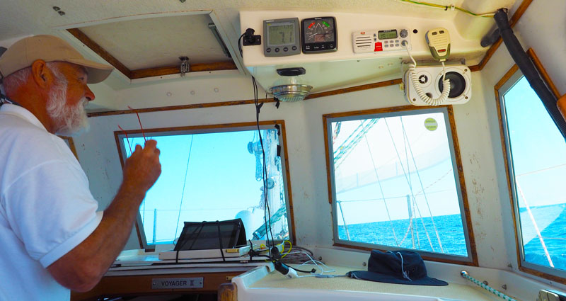 Checking Raymarine i60 wind instrument on a sailing yacht