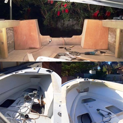 Bow and transom repairs on Savage 24 project boat
