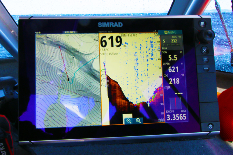 Simrad NSS12 showing 700m water depth