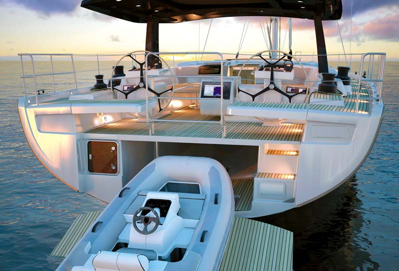 Stern of Hanse 675 sailboat
