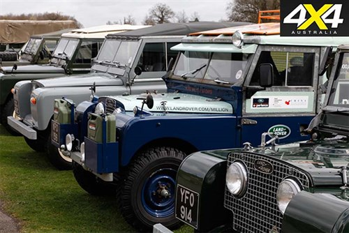 Line up of Land Rover SUVs
