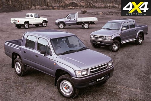 Line up of classic Toyota Hilux tow vehicles