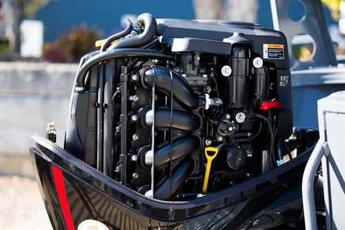 Interior of Mercury 115-Pro XS four-stroke outboard motor