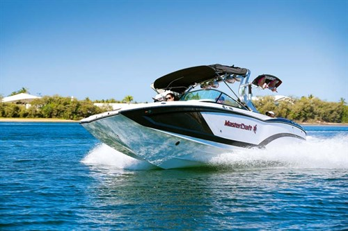Mastercraft X-26 wakeboat on the water
