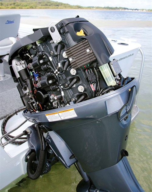Cowling interior of Yamaha F70 outboard motor
