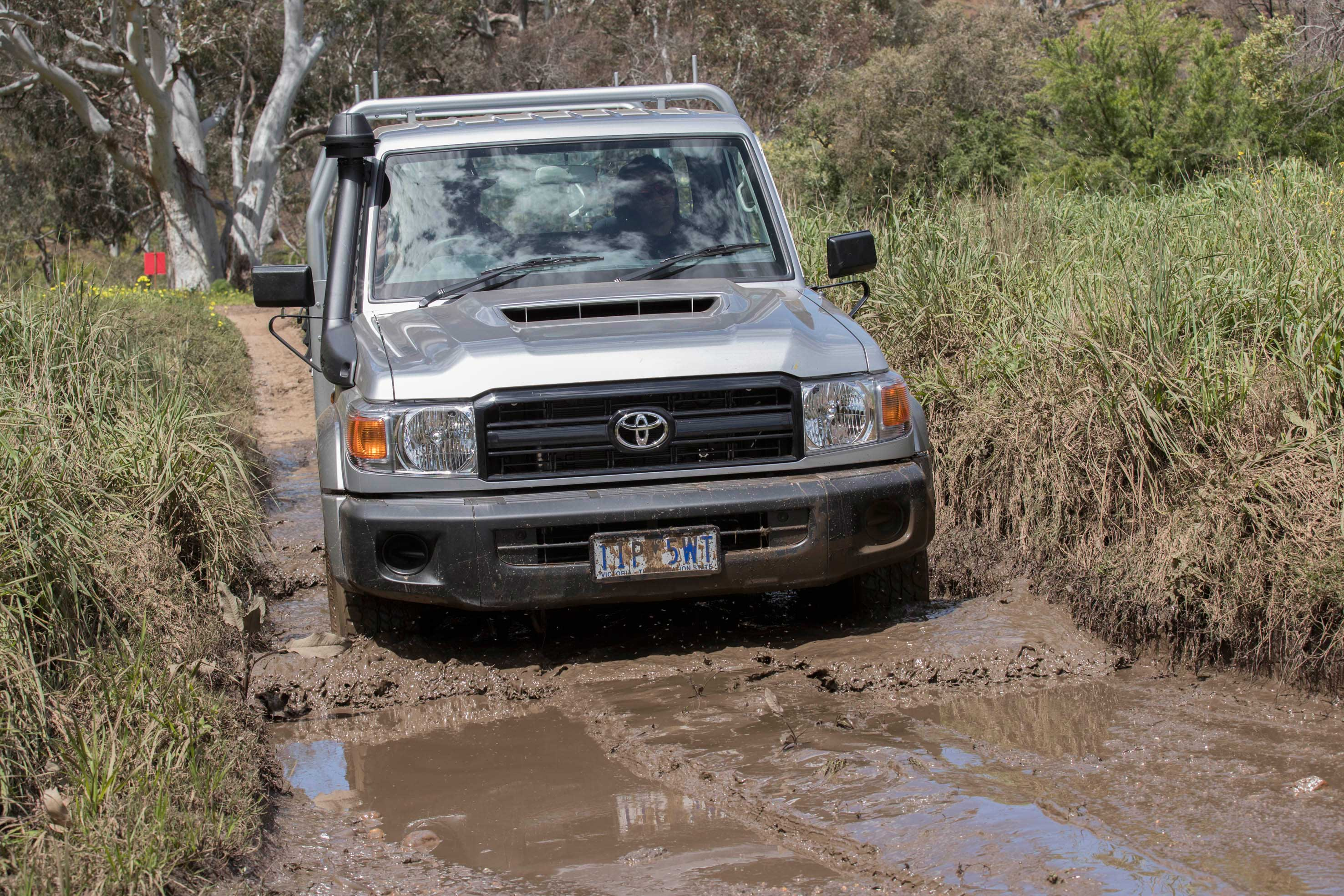 Toyota Landcruiser 70 series wading through mud