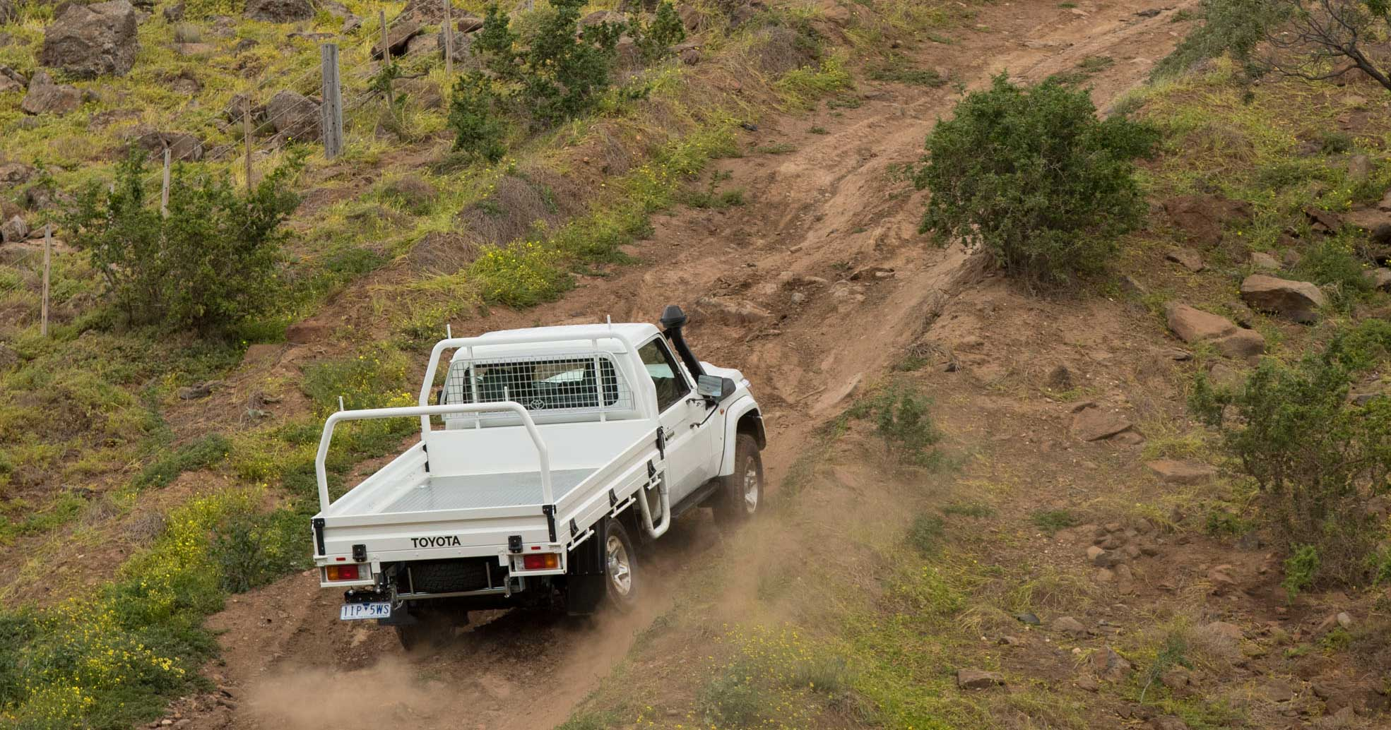 Toyota Landcruiser 70 series travelling up steep hill