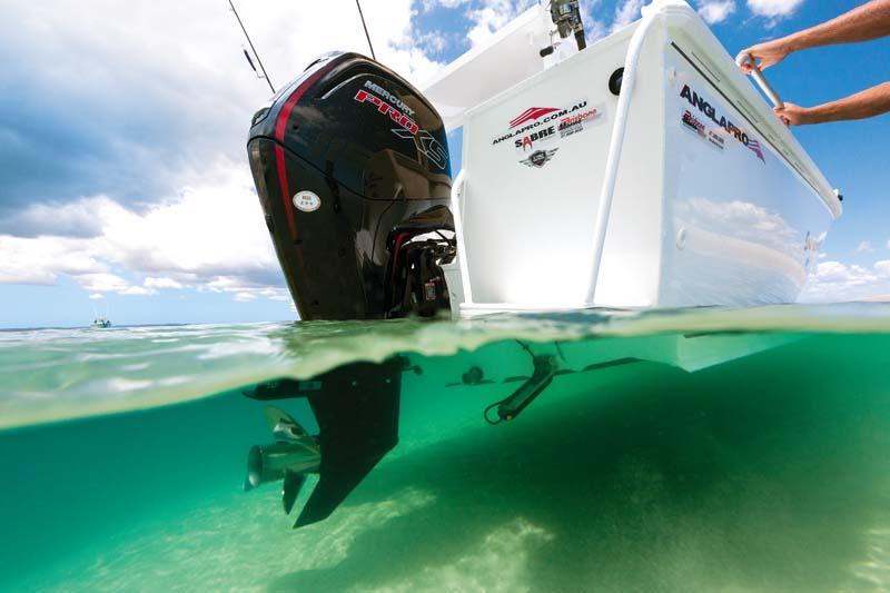 Mercury 115XS outboard motor on Anglapro 514