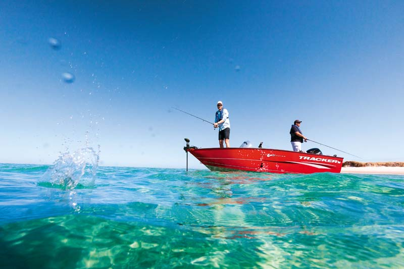 American Tracker aluminium fishing boat at rest