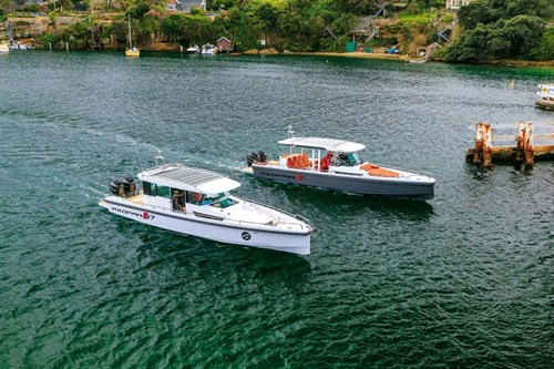 Axopar 37 Cabin and Axopar 37 Suntop boats side by side