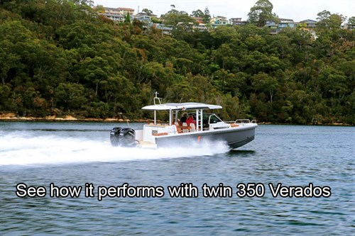 Axopar 37 boat with twin Mercury 350 Verado outboards on the water