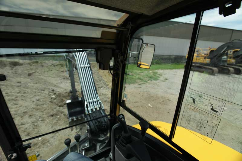 Volvo ECR50D view through windshield