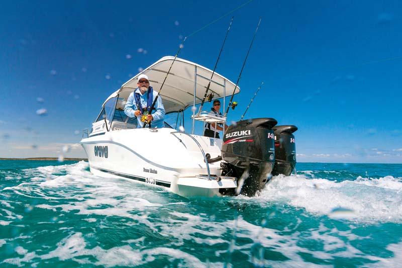 Twin Suzuki DF140 outboard motors on Caribbean 2400 boat