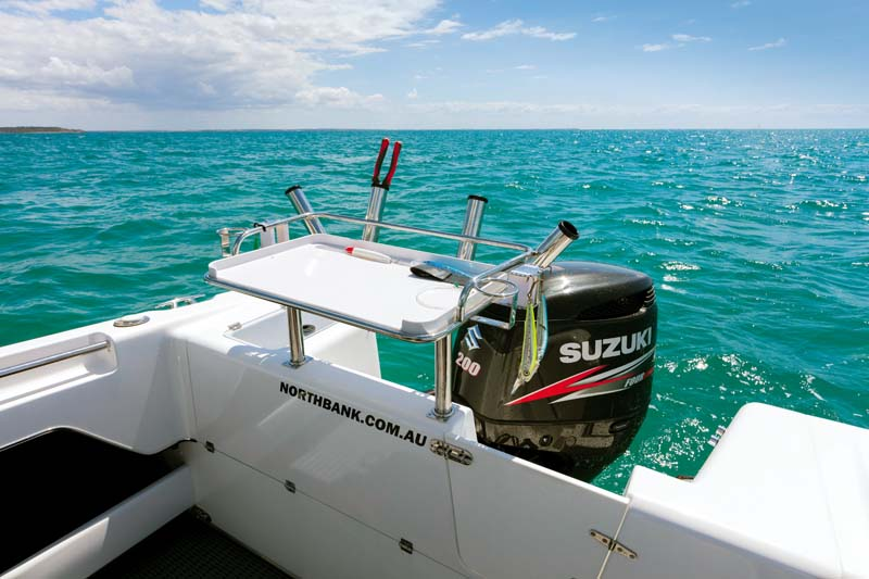 Transom on Northbank 650HT showing Suzuki outboard motor