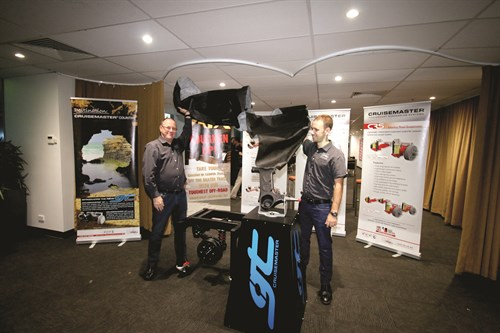 Vehicle Components Managing Director Chris Goddard And Son And Operations Manager Andrew Unveil The New Cruisemaster GT Suspension PIC JOHN WILLIS