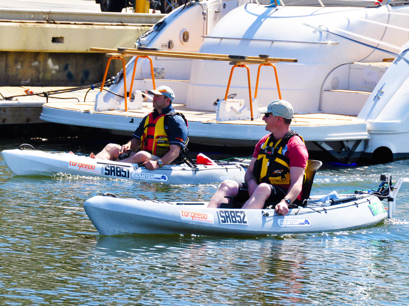 Ranger kayaks fitted with Torqeedo Ultralight 403 electric outboards.
