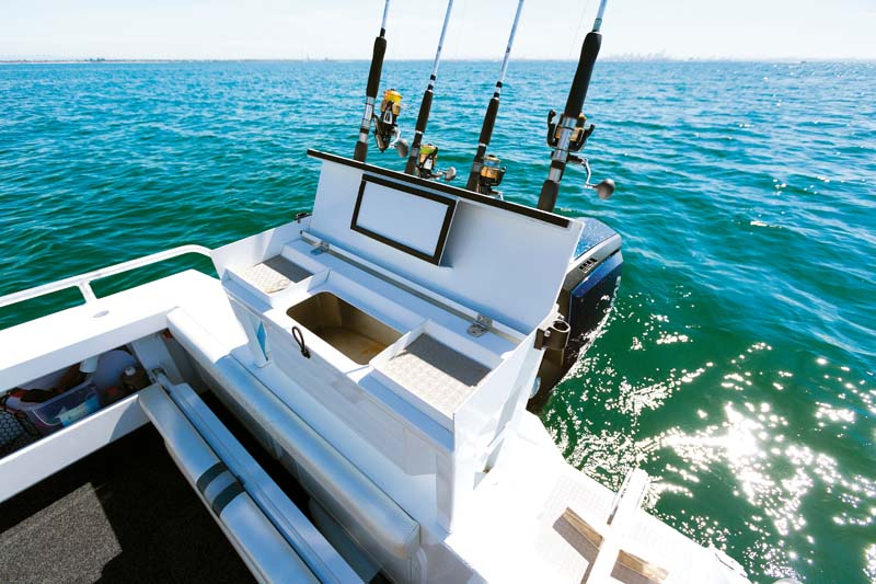 Transom and bait station on Formosa 580 Offshore Tomahawk