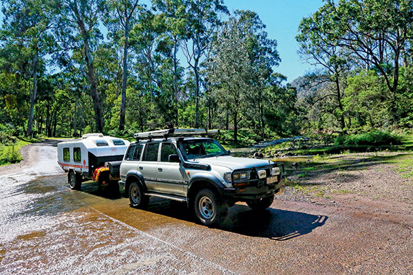 Towing -a -caravan --at -Goomburra -across -Dalrymple -Creek