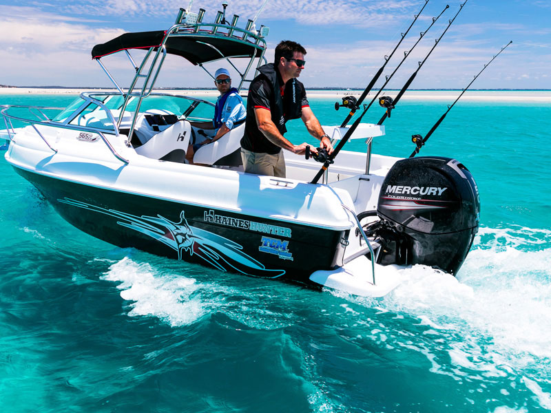 150 HP Mercury four-stroke outboard motor on Haines Hunter 565R