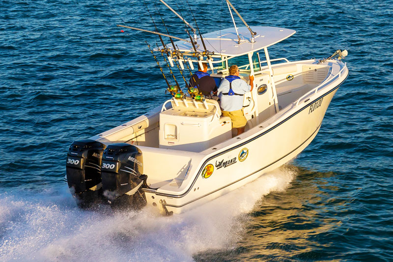 Twin Mercury 300hp Verado outboard motors