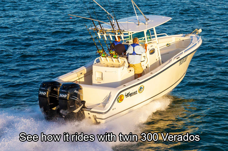 Twin Mercury 300hp Verado outboard motors