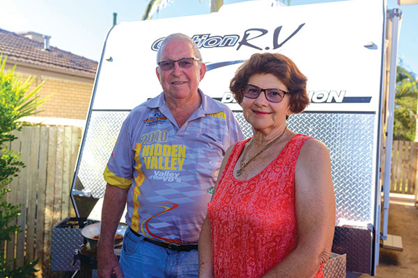 Ross -and -Michelle -Stephens -with -their -new -Option RV-caravan