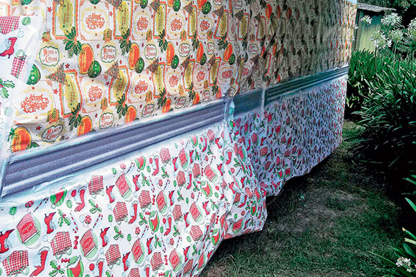 Christmas -wrap -masking -up -the -caravan -decals