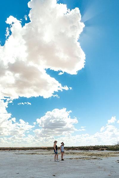 Two -women -exploring -Lake -Tyrrell -at -Sea -Lake -VIC