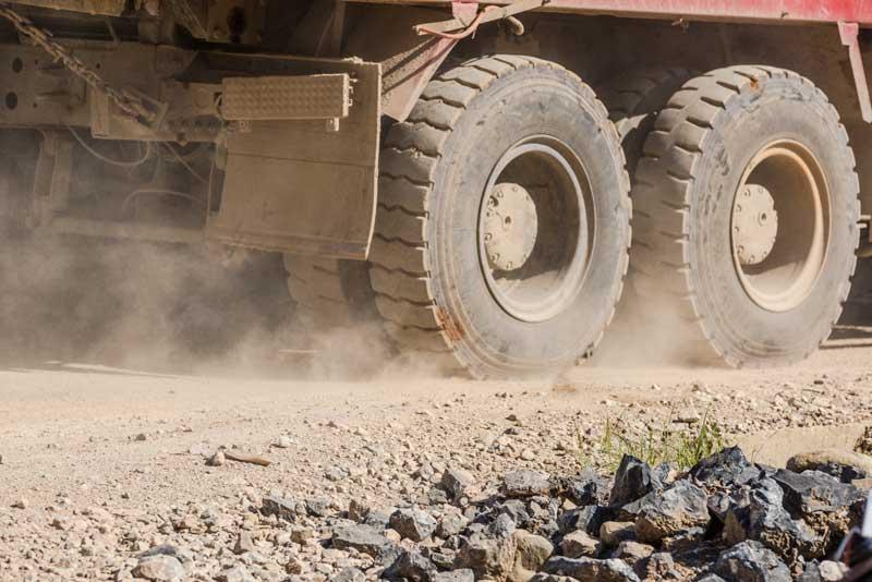 Truck tyres in dust