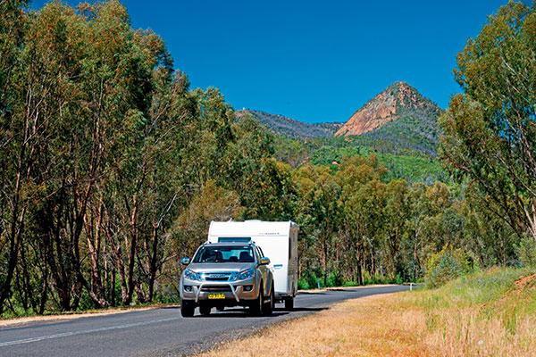 Isuzu -towing -Adria -caravan -in -Warrumbungle -National -Park -NSW
