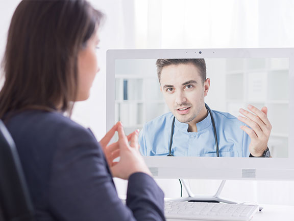 A consultation between doctor and patient through a IOT connected device