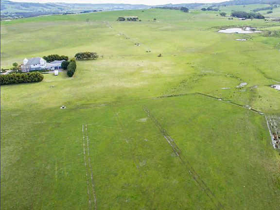 Fairfield's paddocks from the air