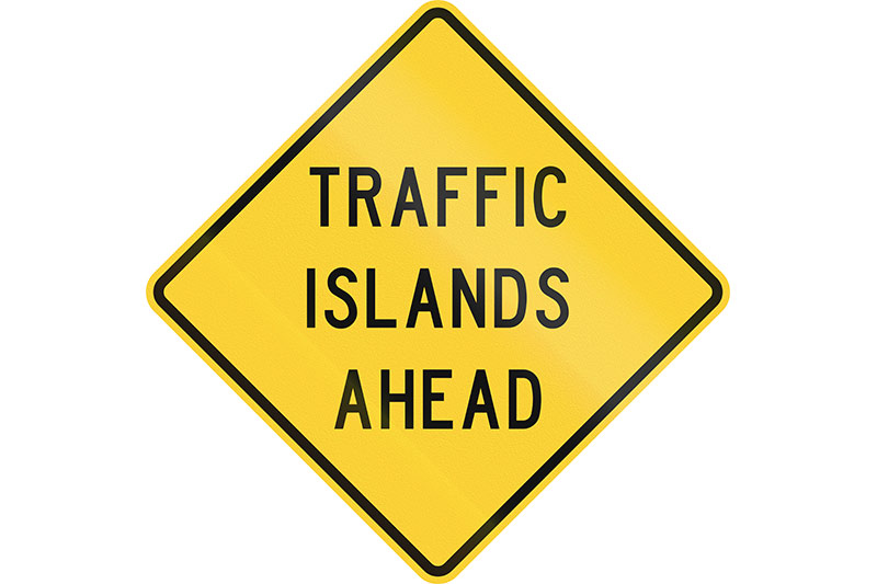 Traffic -islands -sign