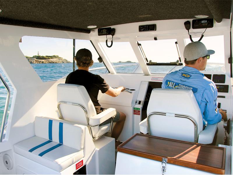 Trade -a -Boat Razerline 7.6 Olympian Review Cabin Helm