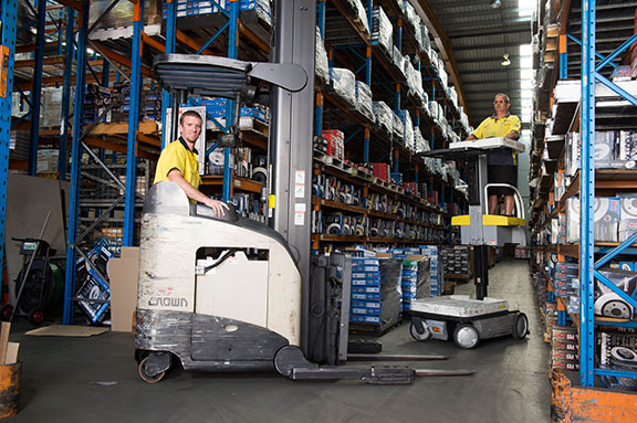 DBA staff and Crown RR series lift truck
