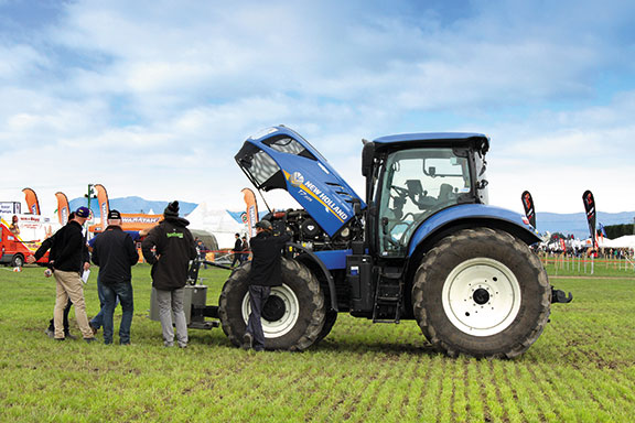 The New Holland T& 225 with its bonnet open