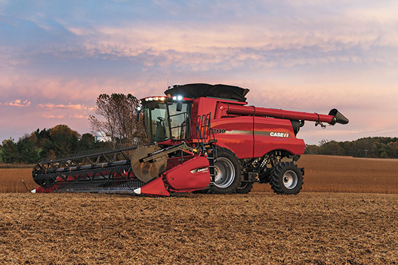 The Case IH 7140 combine harvester in a field