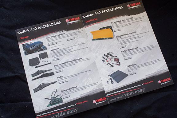 The Kodiak 450's accessory manual