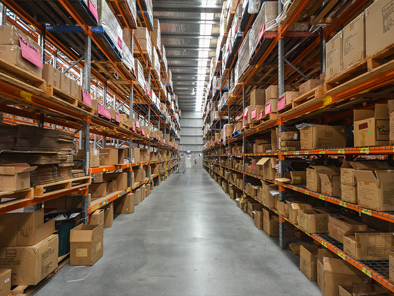The clean racking lines at Wallara's warehouse