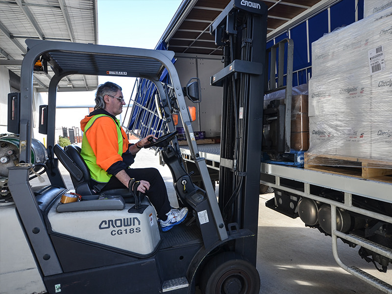 Con Kelly loads freight at Wallara's Keysborough facility